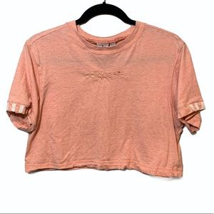 Adidas Pink Crop Top w/ Embroidered Logo